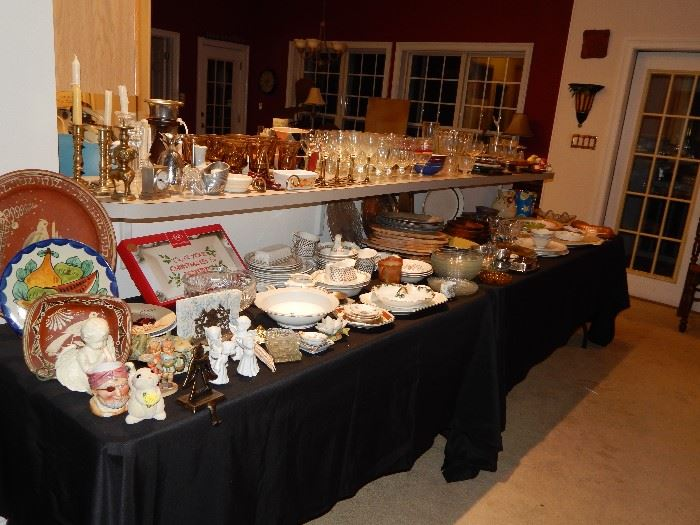 Lenox Christmas items, variety of angels, candle stick holders, Mexican pottery plates, more