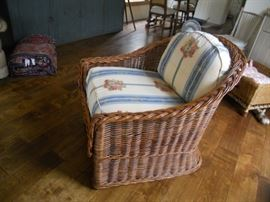Wicker Works chair with custom upholstery