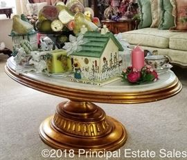 Gold marble top coffee table (HEAVY)