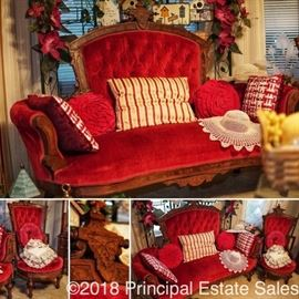 Victorian Settee and matching accent chair, hand carved wood trim