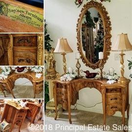 Antique curved, burled desk by Saginaw Furniture Shops
