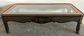 ICT009 Drexel Heritage Lacquered Glass Top Table