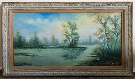 ICT008 Artist A. Van Gal Original Pond Scenery Painting