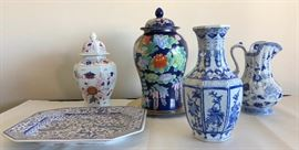 ICT011 Ceramic Plate, Decanter and Vases Lot