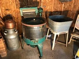 Old wash machine and Maytag tub
