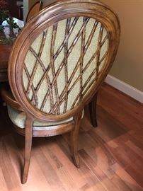 Unique chair backs with the same pattern as the table top
