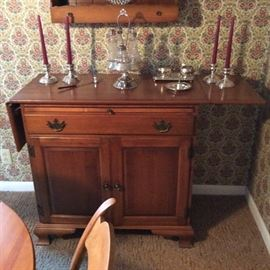 SMALL DINNING ROOM BUFFET WITH PULL OUT SREVING BOARD EARLY CASTOR SET SILVERPLATE CANDLE STICKS