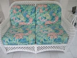 WHITE WICKER LOVESEAT BY LANE