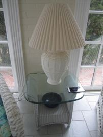 WICKER END TABLE AND LAMP
