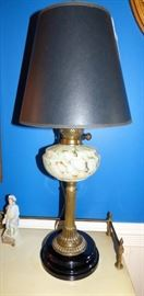 Antique oil lamp made into electric lamp
