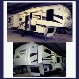 2010 Cameo by Carriage Fifth Wheel in Excellent Condition; only used a very few times. It is Roomy, fully furnished, full bath, air conditioned, loads of storage inside and out, automatic awning & New Outdoor Mats, built in Vacuum System, satellite dish, 2 TVs, Fireplace and Everything you need to get on the road. This Beautiful Motor Home would also make a Great Stationary Home for Seasonal Use or Year Around. It's ready to Go!
