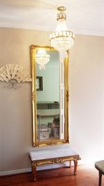 Grand Gilt Mirror and marble top table