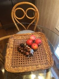 MARBLE GRAPES.  PLASTER APPLES.  RATTAN CHAIR