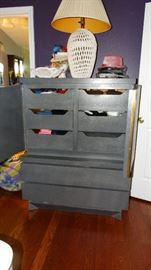 INTERIOR HIGH CHEST WITH VALET INTERIOR DRAWERS.