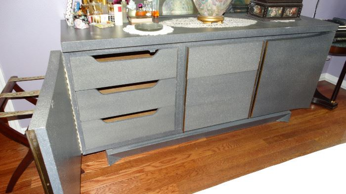 INTERIOR OF AMERICAN DREW DRESSER WITH CUSTOM FINISH.