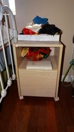 PICKLED WHITE MOBILE NIGHT STAND.