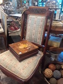 One of three Italian marquetry boxes reduced 50%. Chair is also reduced.