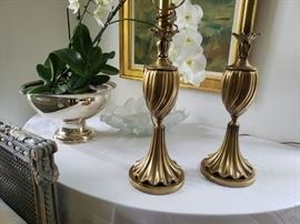 Vintage Pair of Rembrant Lamps.                                                         Solid Brass with original finials.  Pristine Condition.