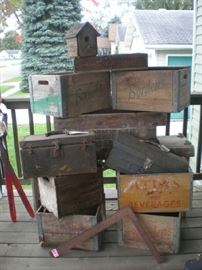 Bordens, Atlas, Detroit Creamery advertising boxes, tool boxes, skis for decorations, square, weathered bird house.