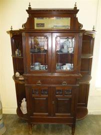 Antique Curio Cabinet/ Brass Detail