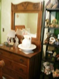 3-drawer antique dresser with mirror.