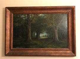 Painting -35x24.5 wood frame bronze finish (Trees, Looking through forest into a field).