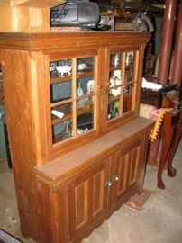 antique dimunative rare step back 19th century cabinet