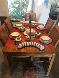 78 pc Sango China  Marabou #3761                                            Vtg dining table with 5 chairs
