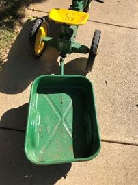 Farmall Pedal Car Tractor with Original Wagon - Painted John Deere Colors