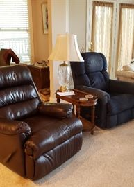 Brown Ashley recliner; blue La-Z-Boy recliner-sold