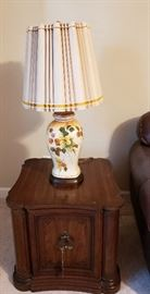 end table, mid century lamp