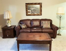 Brown leather sofa, coffee table, side table, lamps