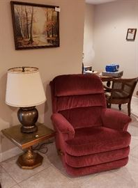 side table, lamps, recliner