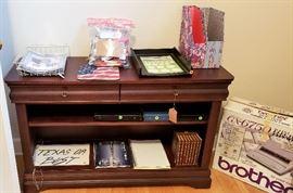 credenza, brother typewriter, office accessories