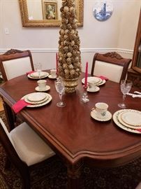 Broyhill dining table, four chairs- SOLD Lenox holiday china