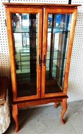 Vintage Lighted Curio Cabinet