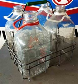 Vintage Glass Milk Bottle Carrier