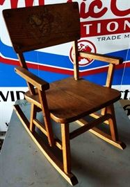 Vintage Wood Child's Rocker with Paint
