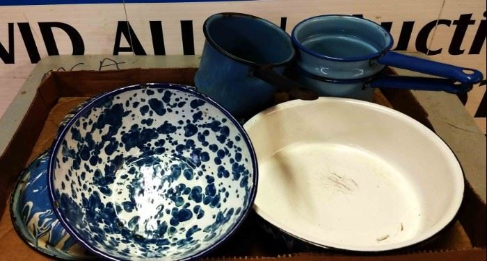 Box Lot- Vintage Blue Enamelware
