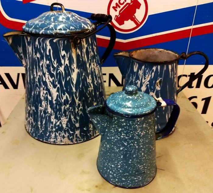 Vintage Blue Enamelware Pitcher