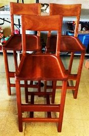 Set of 3 Custom-made Cherry Bar Stools