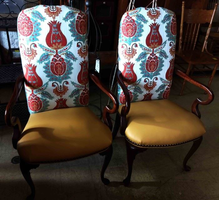 Pair of Occassional Chairs with Leather Seats