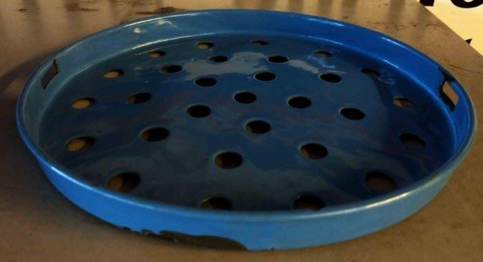 Vintage Blue Enamelware Strainer