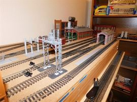 HO Train setup with digital track and train barns/ buildings