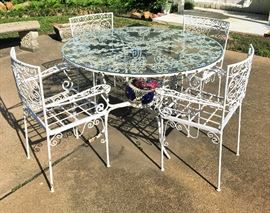 IRON GLASS TOP TABLE WITH 4 CHAIRS