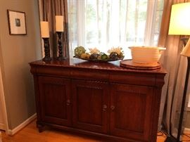 Ethan Allen Sideboard, large candle sticks, custom silk and succulent arrangement and more!