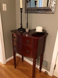 Side table with 2 drawers and silver framed mirror