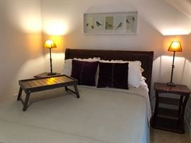 Ethan Allen Queen Sleigh Bed, side tables, pottery barn mica side table/buffet lights, Pottery Barn silk and velvet coverlet, pillow shams and throw pillows