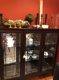 Narrow China/Crystal cabinet, with glass shelves and mirrored back - also lit and locking, wooden candle sticks and more!