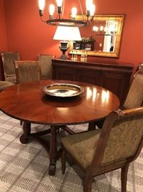 """Ethan Allen 60"""" round table and side chairs (8 available) and large burnished gold mirror, and Iron lamp"""
